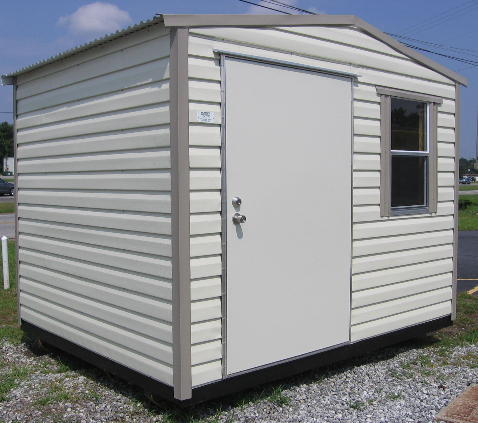 Sturdi portable buildings for Metal wood siding